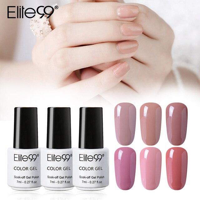 Elite99 7 ml LED UV GEL Nude Farbe Serie Gel Lack Lack Reine Farben Semi Permanent Gel Lack Nagel Primer ganze 24 Stück