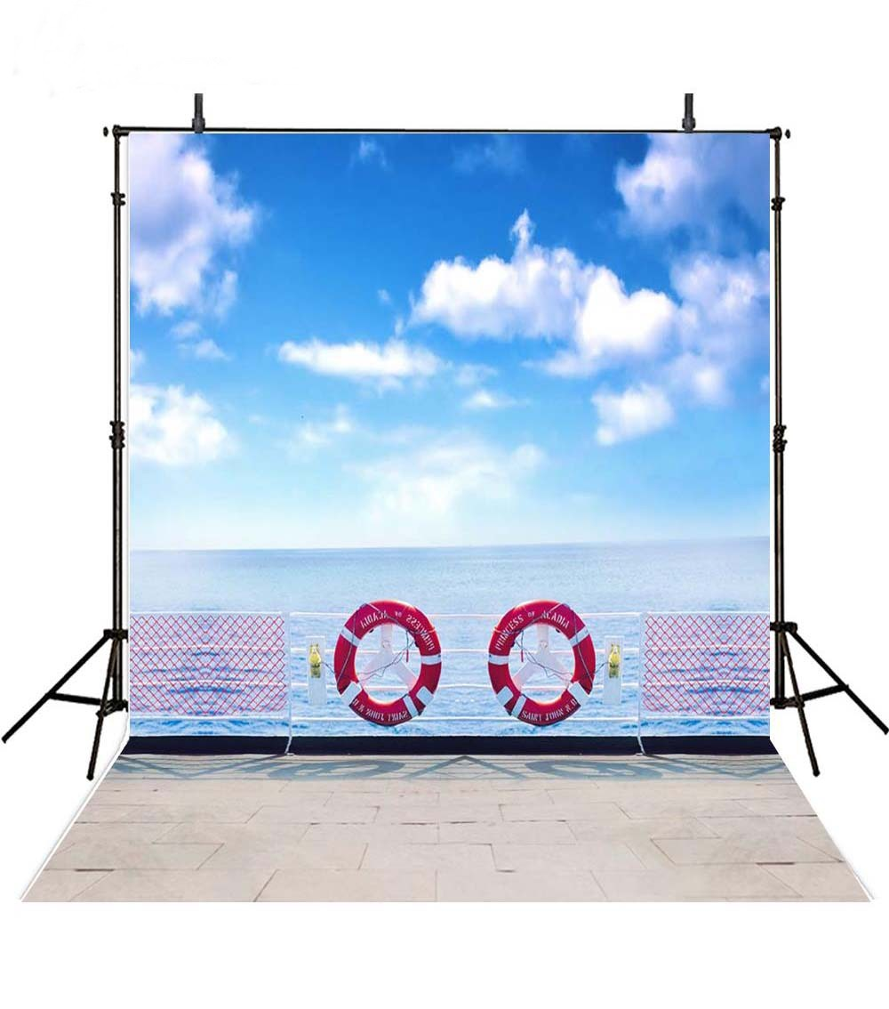 Blue Sky And White Clouds Cruise Ship Deck Ocean backdrops Vinyl cloth Computer printed  ...