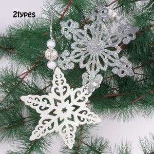Christmas decoration Christmas tree pendant white snowflake hanging ornament 10cm with beads christmas tree decoration supplies