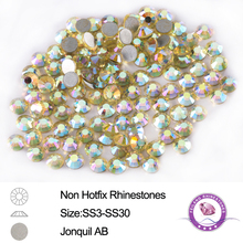 SS3-SS30 Mix 8 Sizes Jonquil AB 12 Facets NonHot Fix Rhinestones 2-10 Gross Nail Art Shiny Crystals