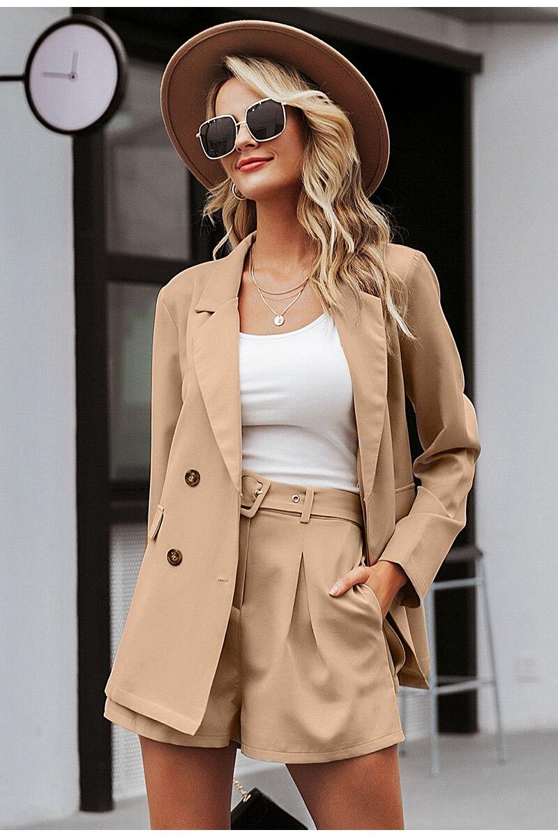 Simplee Elegant two-pieces women short suit Casual streetwear suits female blazer sets Chic 19 office ladies women blazer suit 3