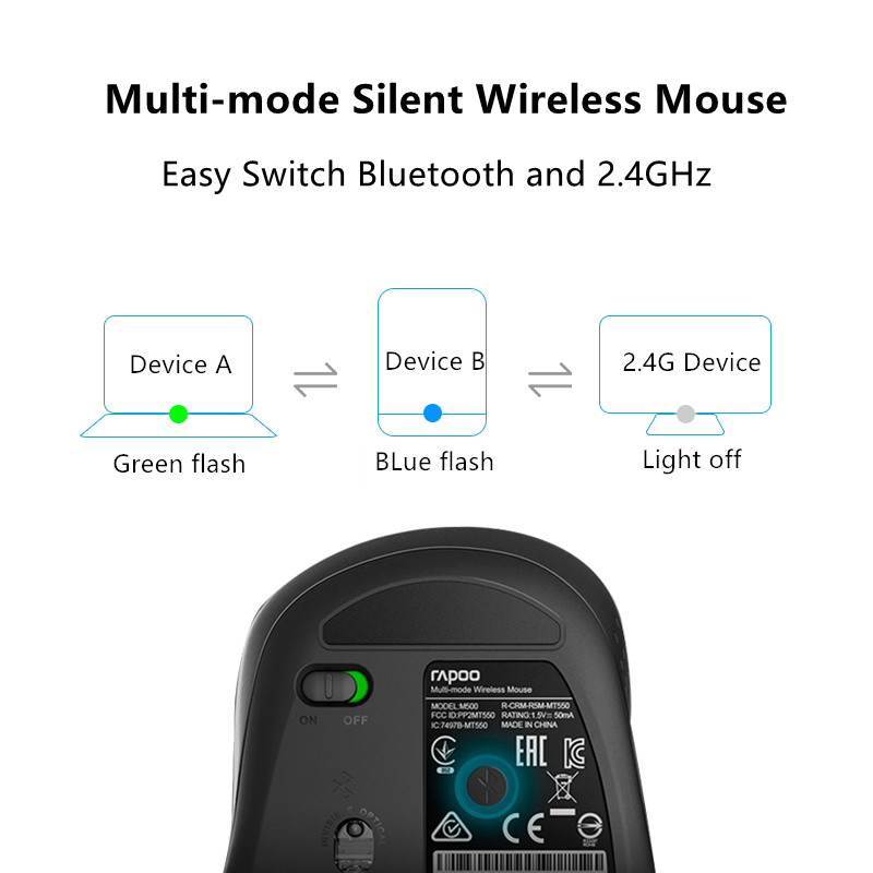 Image 4 - Rapoo M500 Multi mode Silent Wireless Mouse with 1600DPI Easy Switch Bluetooth and 2.4GHz up to 3 Devices Connect for Computer-in Mice from Computer & Office
