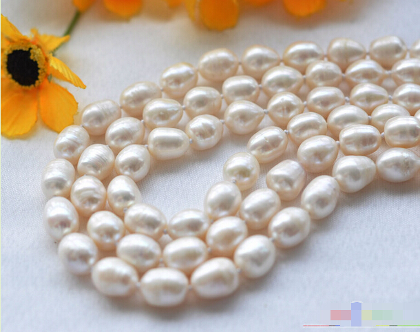 Free shipping@@@@@ P3767 3row 23 12mm rice white Freshwater cultured pearl necklace mabe