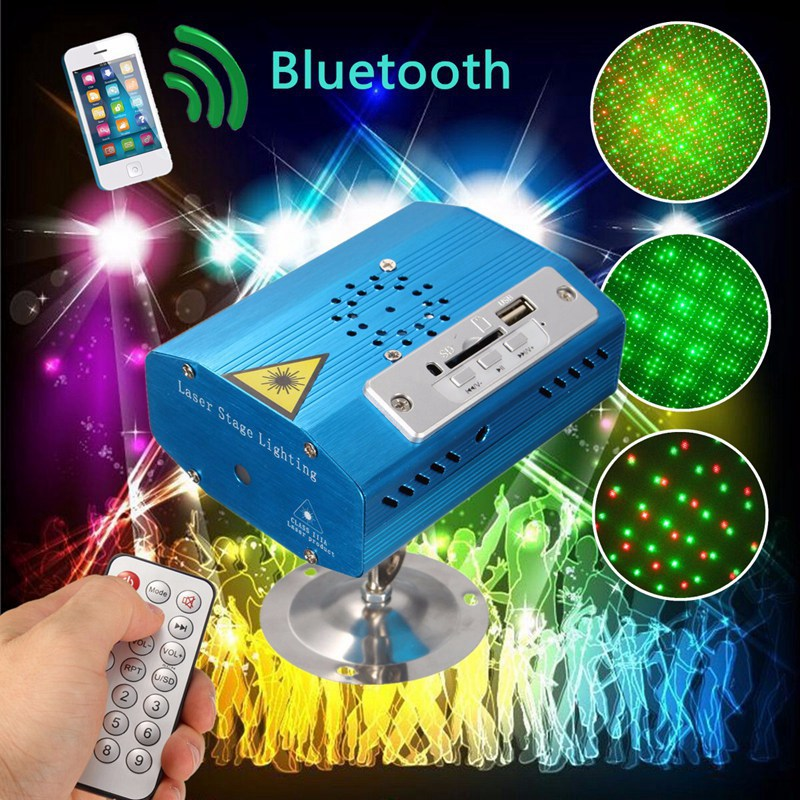 Big Promotion Mini Bluetooth LED Stage Light R&G Laser Stage Lighting Effect USB SD Disco X-mas Party Club New Year Decor Lights
