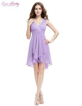 Bridesmaid Dress Ever Pretty A Line New Arrival HE03644 Ruffles V Neck Lilac High Low Bridesmaid Dresses 2017