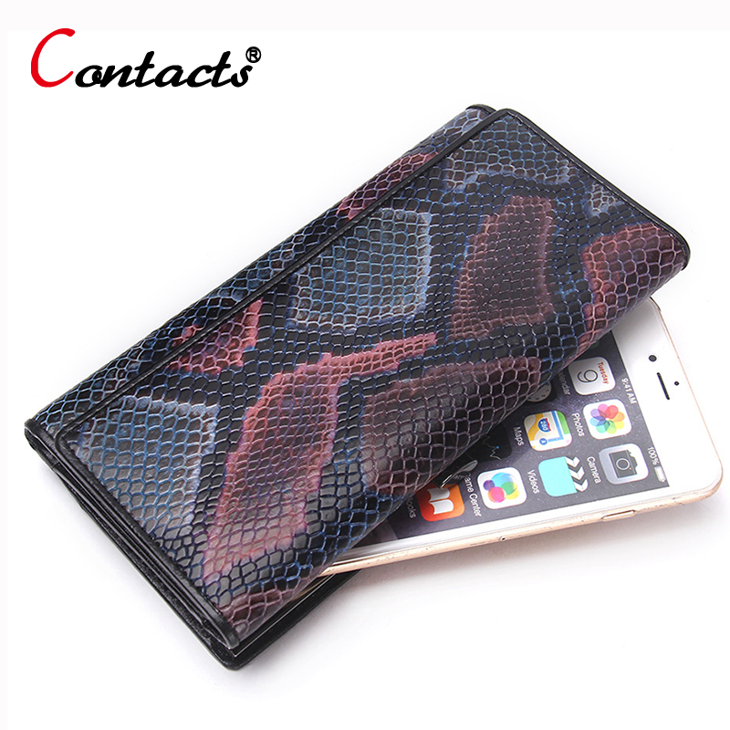CONTACT'S Genuine leather Women Wallet Phone Purse female clutch bag ladies coin money bag Card Holder Organizer Serpentine Top