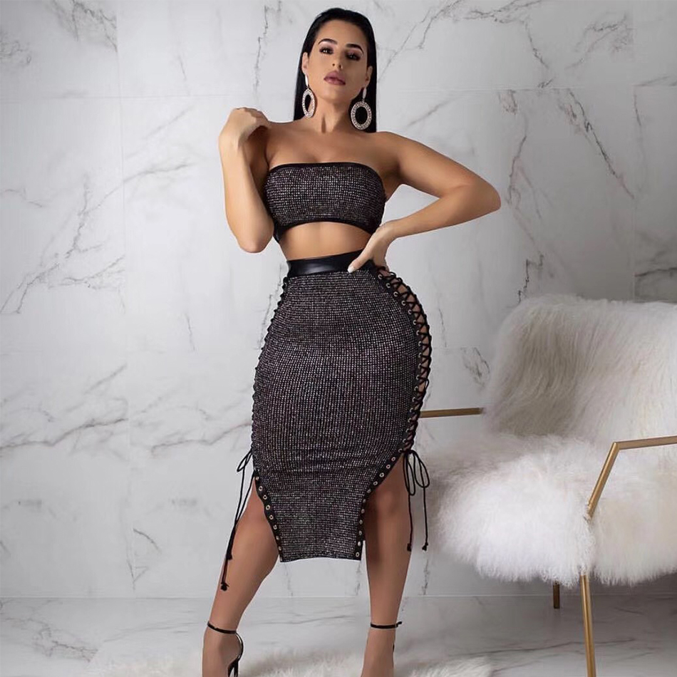 ADYCE New Summer Women Bodycon Bandage Sets Dress Vestido 2 Two Pieces Set Black Strapless Lace Up Celebrity Evening Party Dress
