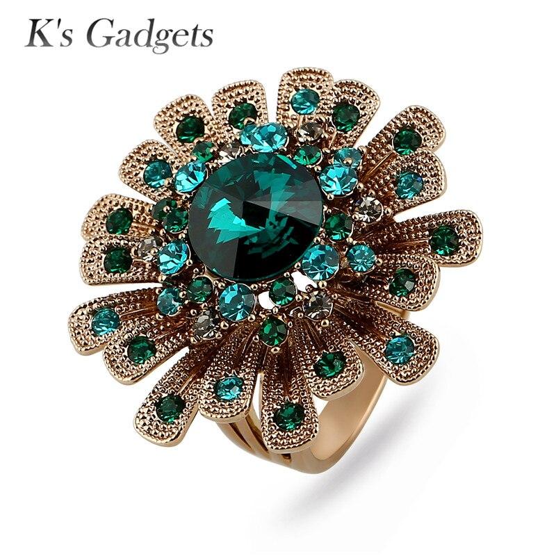 K s Gadgets Luxury Green Blue Austrian Crystal Rings For Women Titanium Gold Big Flowers Ring
