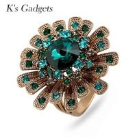 K's Gadgets Luxury Green/Blue Austrian Crystal Rings For Women Titanium Gold Big Flowers Ring Fashion Wedding Fine Jewelry