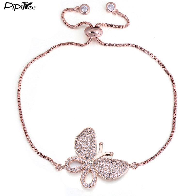 Pipitree Luxury Micro Pave Zircon Stone Big Butterfly Bracelet Femme Slider Chain Rose Gold Color Charm Bracelets Women Jewelry