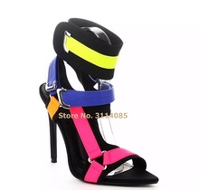 Women Newest Mixed Color Buckle Strap High Heel Sandals Pink Yellow Blue Patchwork Metal Ring Party Shoes Heels