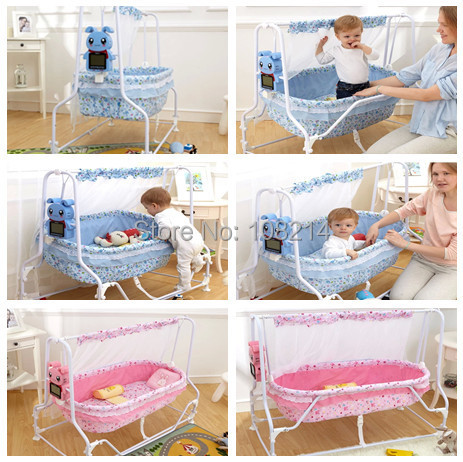 Exceptionnel 2015 New Arrival Automatic Swing Baby Crib Infant Furniture Pink/Blue  Electric Swing Cradle Cotton Baby Bassinet For Baby 0 25KG In Baby Cribs  From Mother ...