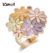 Kinel Original Colorful Enamel Ring For Women Fashion Dubai Gold Jewelry Engagement Party Open 2019 New