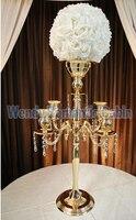 Złote Świeczniki Stoiska Kwiatowe ślub Rekwizyty Ślubne Budynkiem wazon Metalowe świeczniki kandelabr