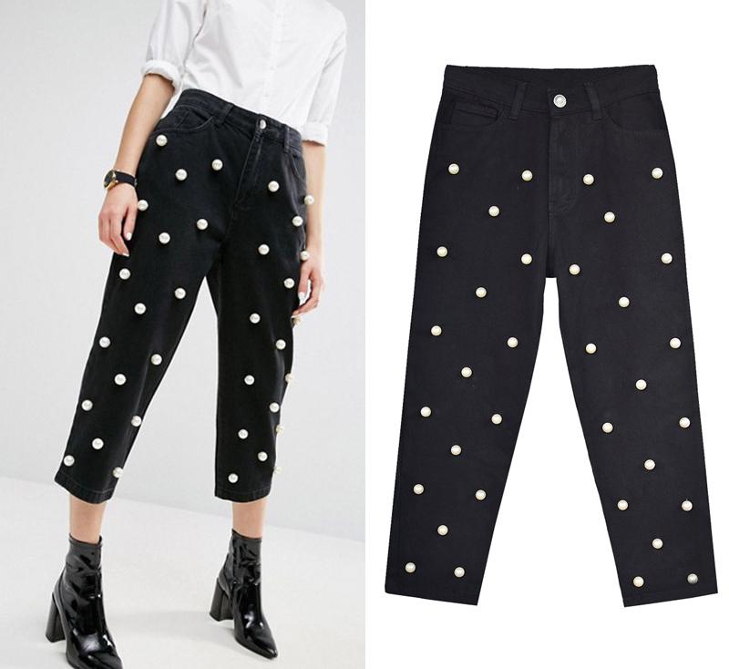 2017 Women`s high waist straight loose wide leg cowboy broken pants pendant big pearl lady pants street wild (3)