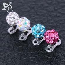 79d7957701a4 2 unids lindo CZ crystal ball dérmica de anclaje 316L Acero inoxidable  internamente roscado superior Dermal piercing piel buzos .
