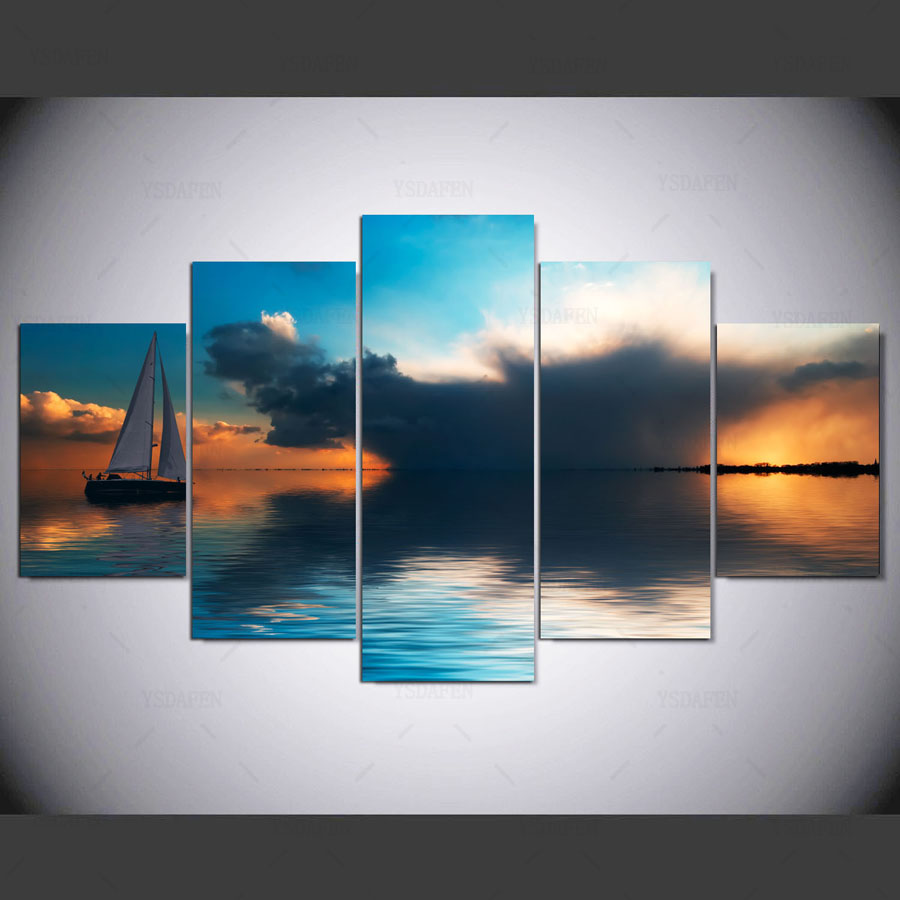 Drop Shipping 5 PCS Ocean and boat Modern Home Wall Decor Canvas Picture Art Print On Canvas For Christmas gift IM-50