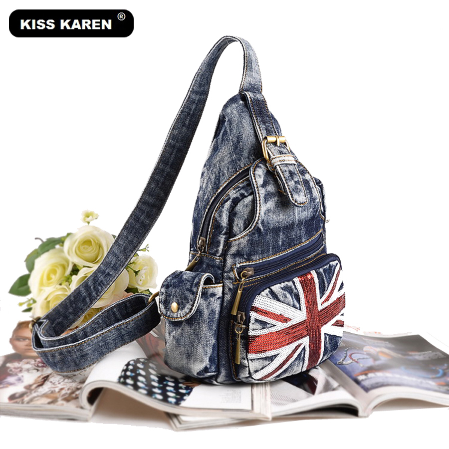 KISS KAREN Glitters Fashion Denim Dada Bag Jeans Casual Daypacks Trendy Dada Ransel Backpack Wanita Backpack Travel Bags Women Bag