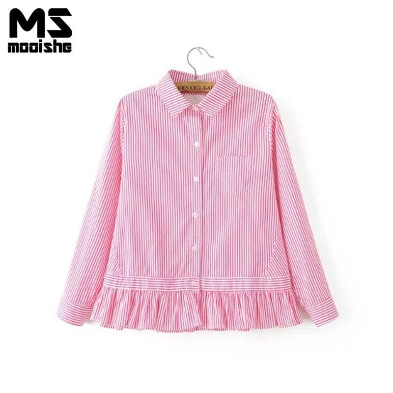 Mooishe Resorte de Las Mujeres Elegantes Camisas Ruffles Pink Rayas Jersey de Cu
