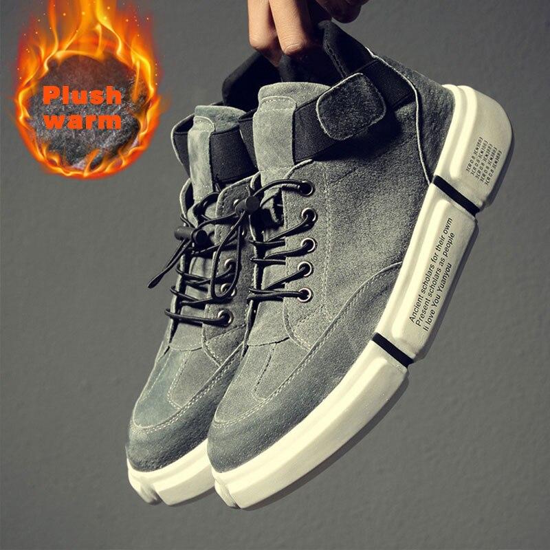 SUROM printemps chaussures d'hiver décontractées hommes en cuir chaussures de loisir à la mode mâle bottes hautes chaud hiver baskets Homme Chaussure Homme