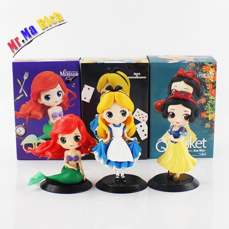 3 pcs/lot Q Posket Alice Alice au pays des merveilles Ariel la petite sirène blanche neige Pvc Figure à collectionner modèle jouet avec boîte