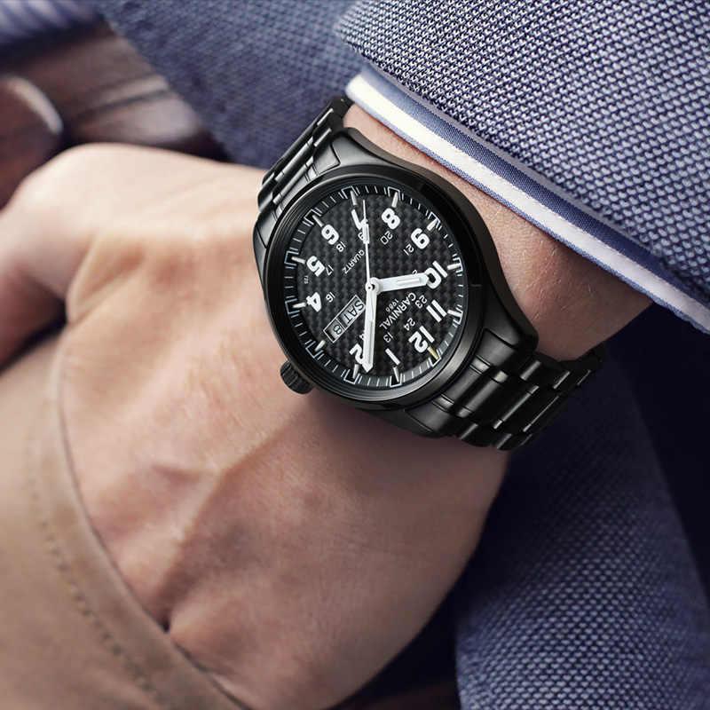 Karnaval Top Brand Luxury QUARTZ Watch Pria T25 Tritium Luminous Jam Tangan Pria Hitam Baja Penuh Tahan Air Jam Tangan Relojes