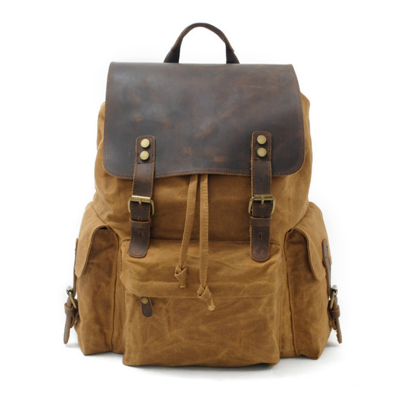 [Canvas + Real cowhide Leather]  Designer Fashion Men Backpack Vintage Travel School Bags Large Capacity Laptop Daypack Bookbag[Canvas + Real cowhide Leather]  Designer Fashion Men Backpack Vintage Travel School Bags Large Capacity Laptop Daypack Bookbag
