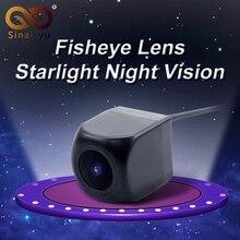 Sinairyu 170 Degree Fisheye Lente Luz de Las Estrellas Cámara de Visión Nocturna de Visión Trasera Cámara de Marcha Atrás de Copia de seguridad Mini HD MCCD Cámara de Marcha Atrás