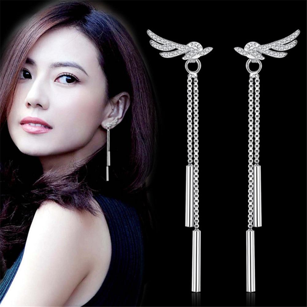 NEHZY 925 sterling silver Jewelry Ladies sweet angel wings after a long paragraph temperament earrings tassel hanging Earrings