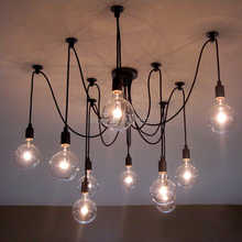 Mordern Nordic Retro Edison Bulb Light Chandelier Vintage Loft Antique Adjustable DIY Art Spider Ceiling Lamp Fixture Light