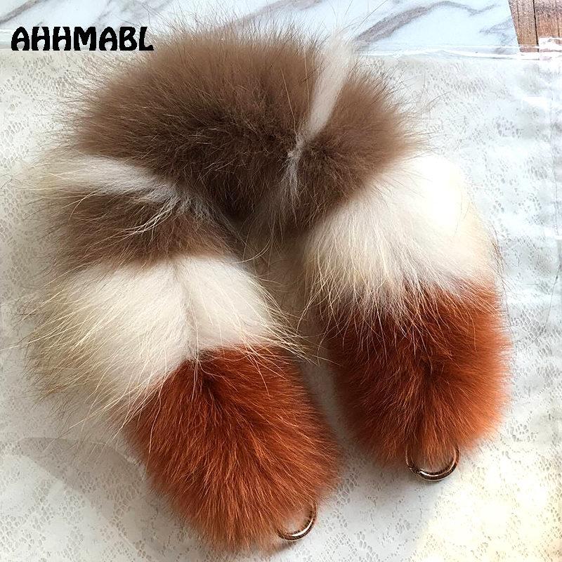 55cm Replacement Bag Strap Genuine Real Fox Fur Handbag Should Straps Handle For Women Purse Belts Charm Winter Accessories R25