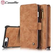 Caseme чехол для телефона iPhone 7 7 Plus люкс Ретро кожаный Универсальный Магнитный чехол карта молнии бумажник задняя крышка