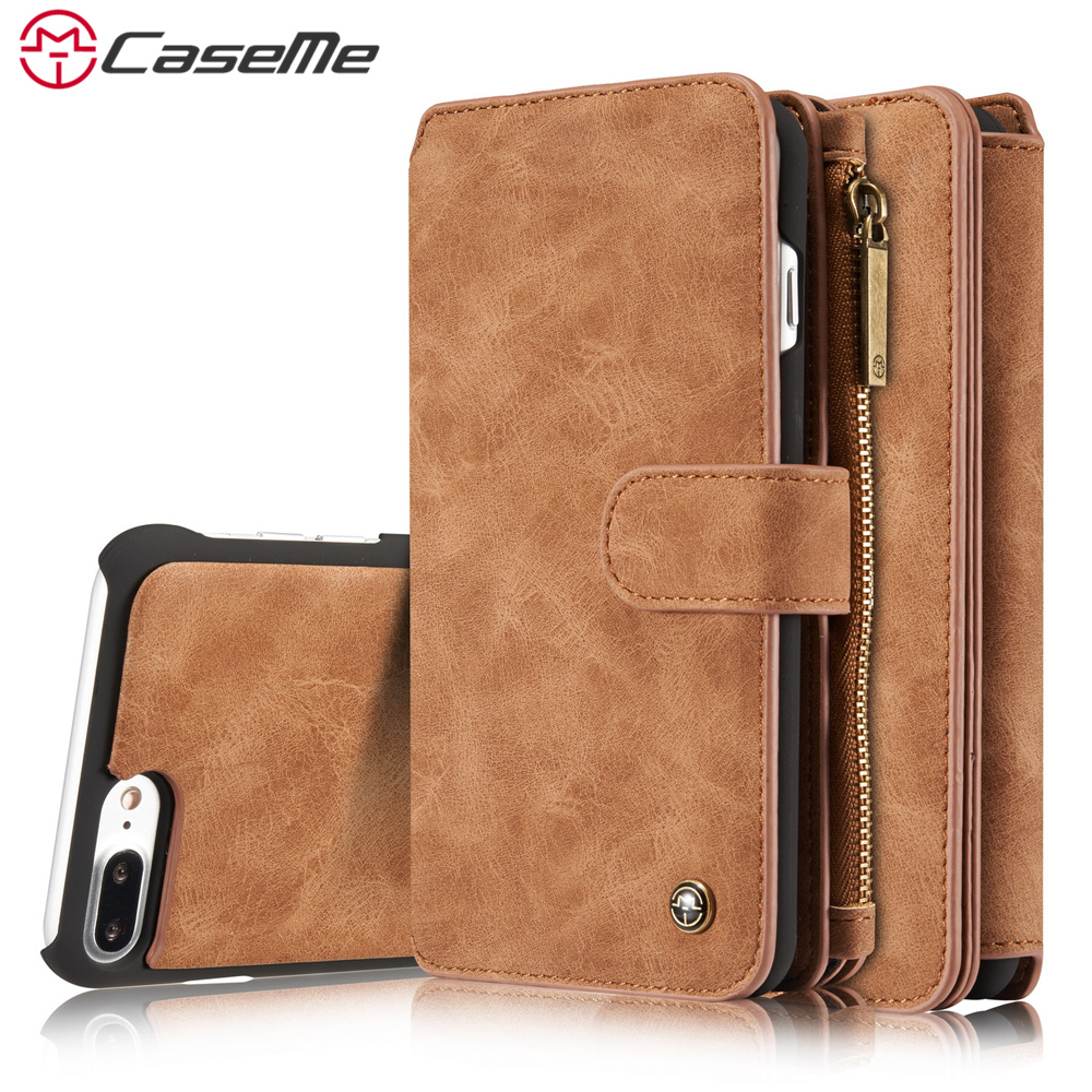 CaseMe Phone Case For iPhone 7 7 Plus Luxury Retro Leather Multifunction Magnetic Case Card Zipper Wallet Back Cover Case