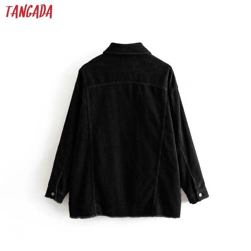 Tangada winter frauen schwarz übergroßen cord jacken high street damen casual mäntel oberbekleidung tops 3H129