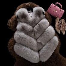 2017 New Winter Coat Women Import Whole Peel 100% Real Fox Fur Vest Luxury Leisure Sleeveless Vests Coats Female Freeshipping