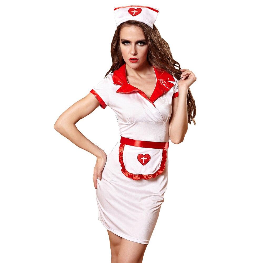 Sexy Nurse Costume For Woman Sexy Lingerie Uniform Temptation Lady Nightclub PR Clothes Dress+Apron+Headwear