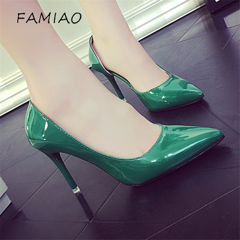 FAMIAO Thin Pointed Toe Sandals Women Pumps 2018 Green Shoes 8cm High Heels Patent Leather Sexy Dress Party Classic Shoes suru slingback pumps women real leather 8cm high heels party shoes pointed toe back trip sandals exegang office lady shoes black