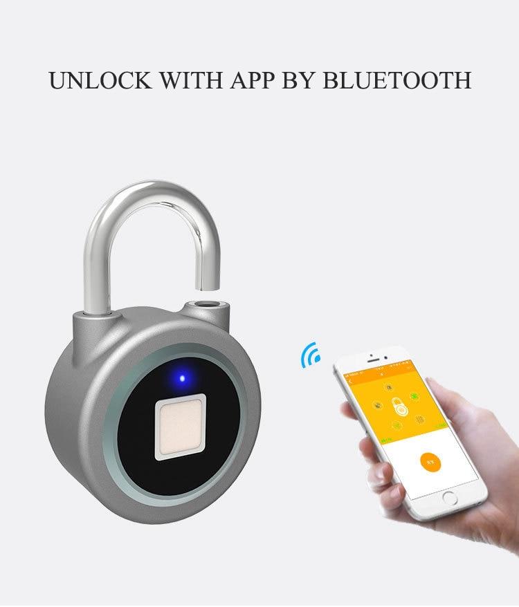 Waterproof Keyless portable Bluetooth smart Fingerprint Lock padlock Anti-Theft iOS Android APP control door cabinet padlock
