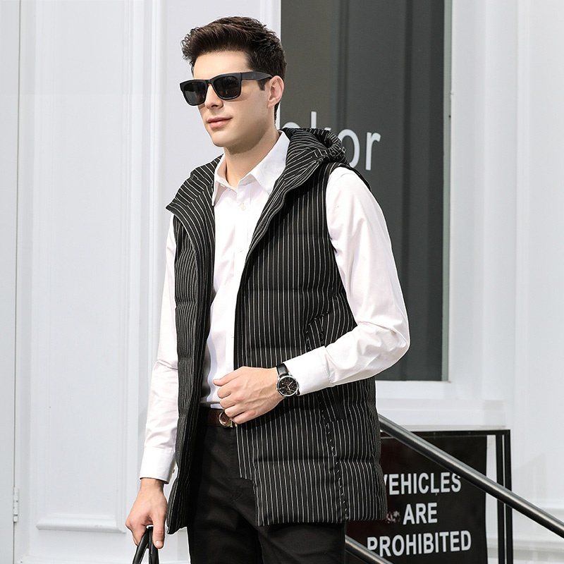 DZYS 2018 New Men's White Duck   Down   Vest Warm Striped   Down     Coat   with Hat for Men Male
