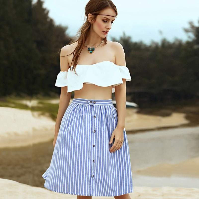 2018 New Women A-Line Stripe Single-Breasted High Waist Skater Flared Fashion Casual Skirts