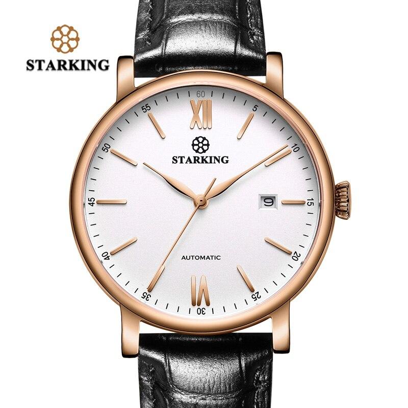 492c3b0ed49 STARKING Marca de Luxo Minimalista Negócios Assista Men Japão Miyota  Relógio Automático de Aço Auto Data relógios de Pulso de Couro Relógio  Masculino em ...