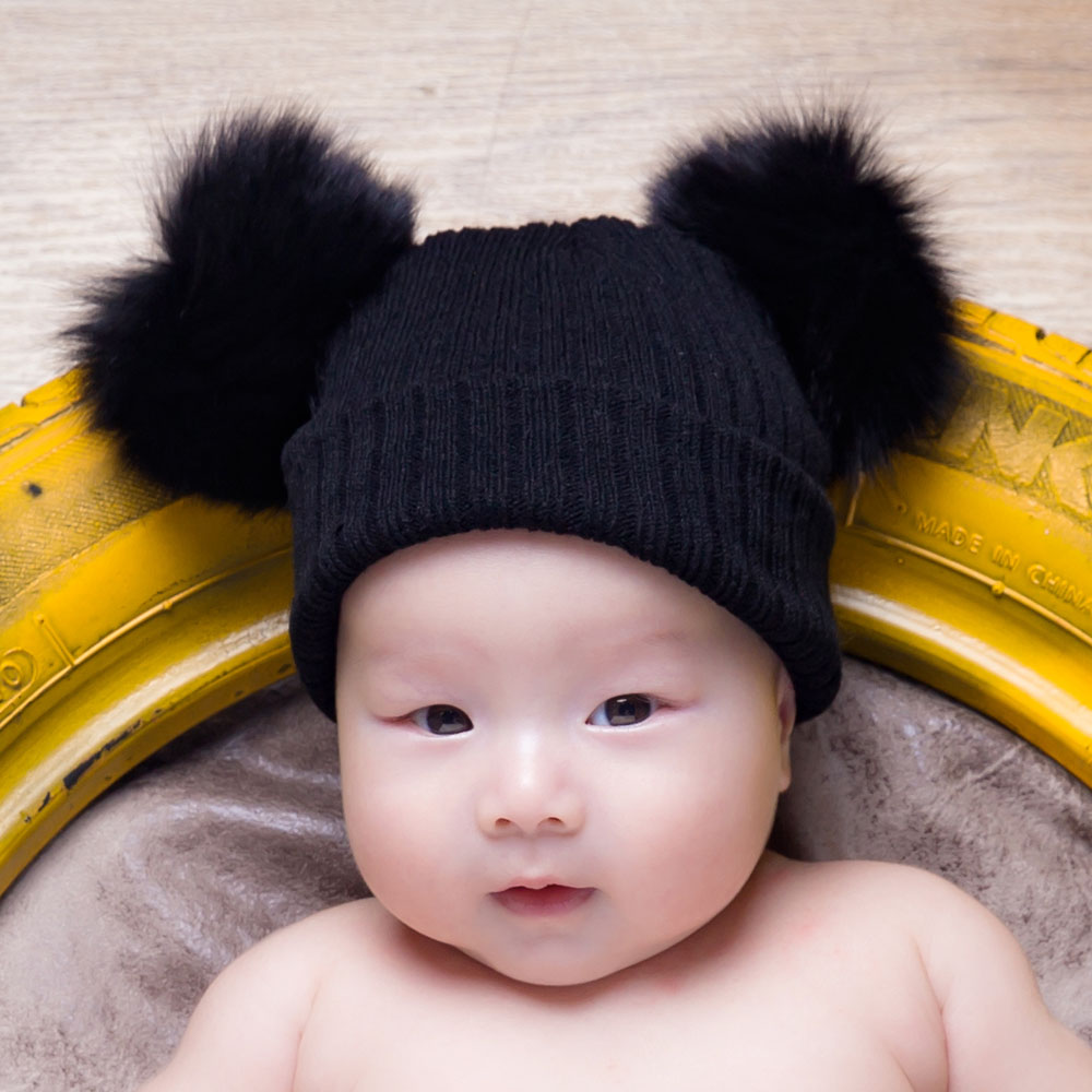 XDOMI 2017 New Cute Girls Boys Beanie Cotton Winter Hats With 2 Real Fox Fur Pompom Kids Beanies Winter Knitted hats Wool Caps new star spring cotton baby hat for 6 months 2 years with fluffy raccoon fox fur pom poms touca kids caps for boys and girls