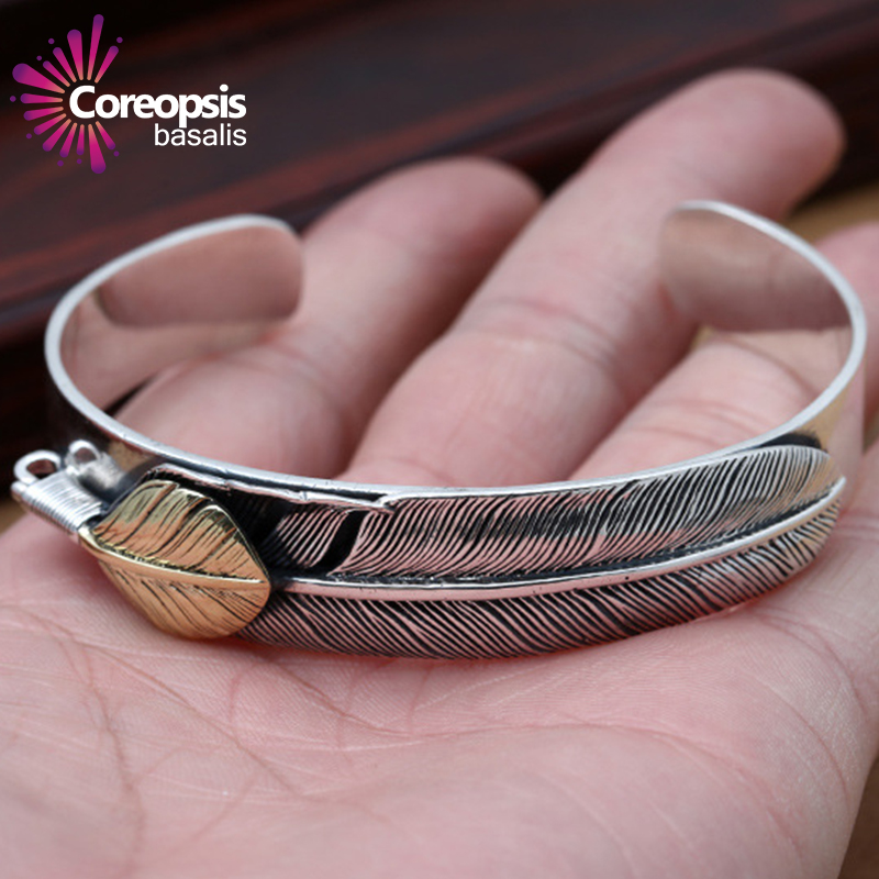 Здесь продается  Thai Silver Genuine 925 Silver Mens Jewelry Bracelets For Men Male Stylish Goro simple feather opening bracelet  Ювелирные изделия и часы