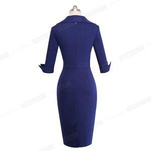 Image 2 - Nizza für immer Vintage Elegante Retro Tragen zu Arbeiten Einfarbig vestidos Business Party Bodycon Büro Frauen Kleid B471