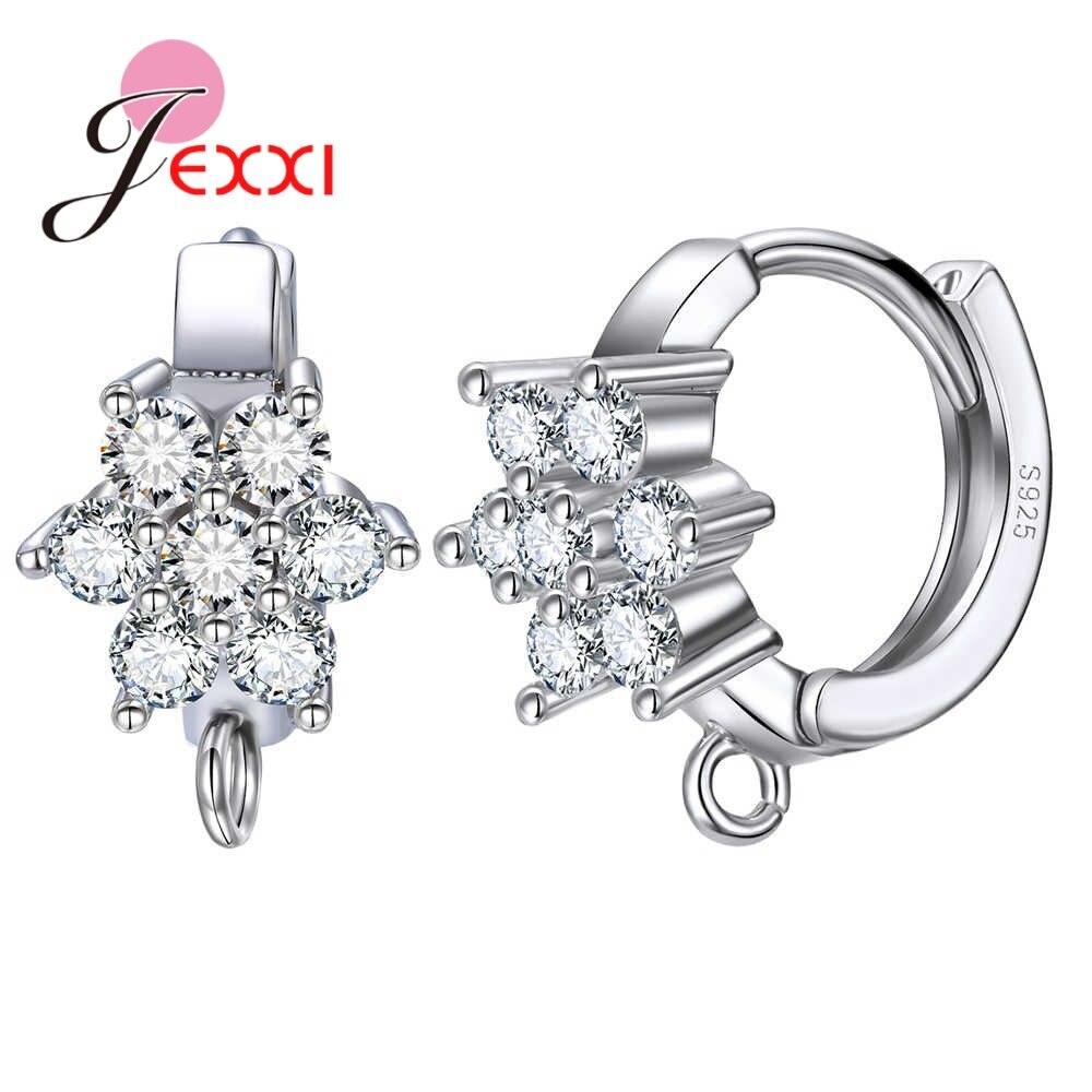 New Arrivals Elegance Women 925 Sterling Silver Flowers Crystals Filled Hoop Earrings DIY Handmade Girls Fine Accessories