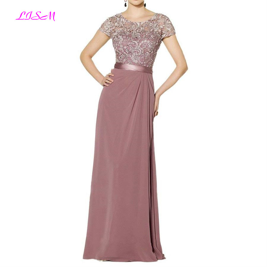 Elegant Appliques Mother Of The Bride Dress Long Chiffon Evening Dresses Scoop Short Sleeves Vestido De Festa Longo Plus Size