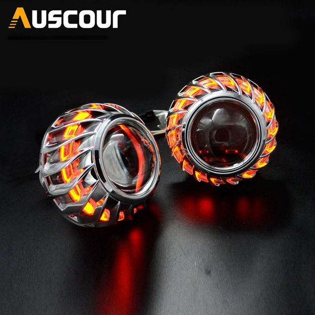 2.5inch mini h1 Bixenon hid Projector lens led day running white angel eyes H1 H4 H7 retrofit car assembly kit