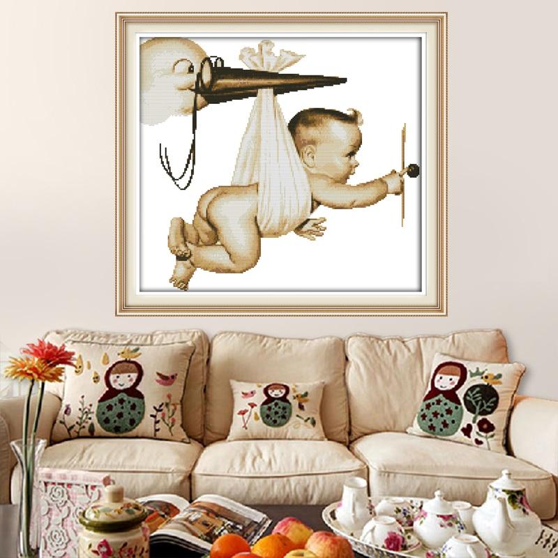 Leteće ptice za bebe kućni dekor DIY slika slikano na platnu DMC - Umjetnost, obrt i šivanje