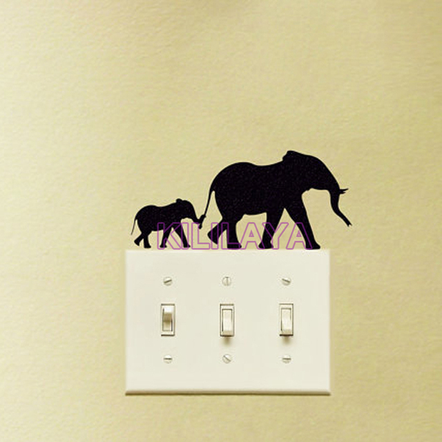 Mother And Baby Elephant Wall Sticker for Powerpoints and Light ...
