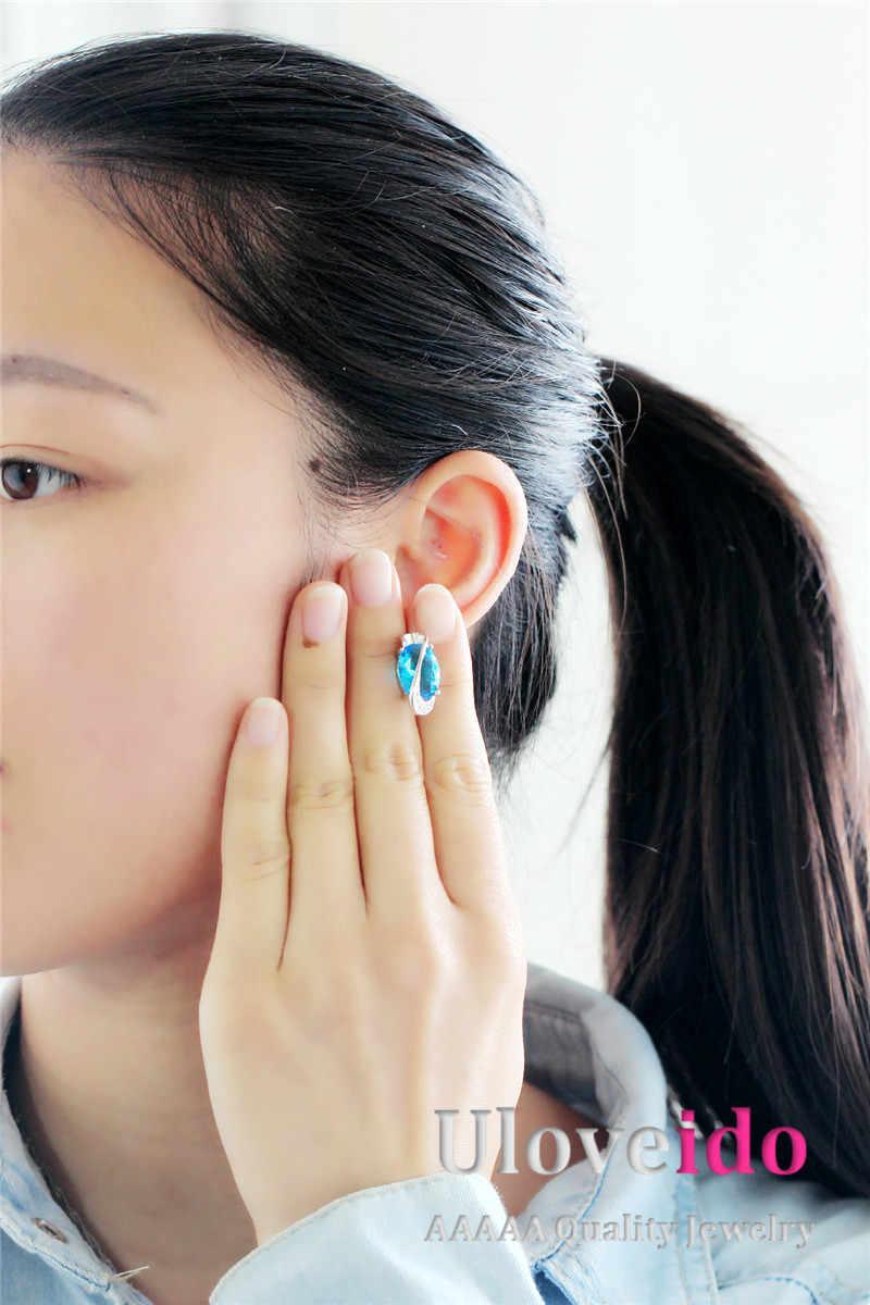 Almei 40% off เจ้าสาวชุดเครื่องประดับ Silver สี Bijoux ผู้หญิงสีฟ้า Rhinestone สร้อยคอชุดสีม่วงต่างหูแหวน T299